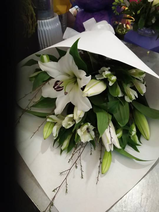 Simply White Lillies and White Alstrameria